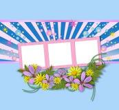 Frames de retrato decorados com flores Fotografia de Stock