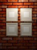 Frames de retrato em uma parede de tijolo ilustração royalty free