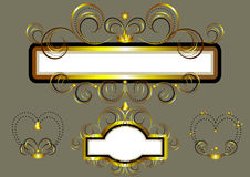 Frames decorated with gold stars and swirls. Royalty Free Stock Image