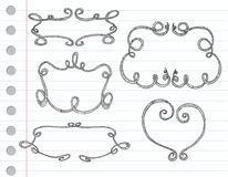 Frames decorativos desenhados mão ilustração royalty free
