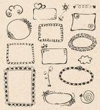 Frames and design elements collection hand drawn Royalty Free Stock Photos