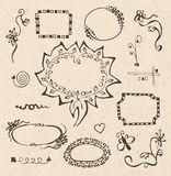 Frames and design elements collection hand drawn Stock Photo