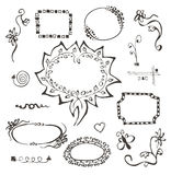 Frames and design elements collection hand drawn Royalty Free Stock Photo