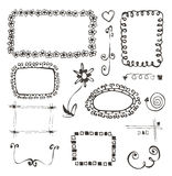 Frames and design elements collection hand drawn Stock Image