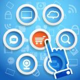 Frames do círculo com ícones dos media Fotos de Stock