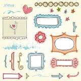 Frames do Doodle ajustados Fotografia de Stock Royalty Free