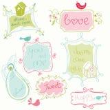 Frames doces do Doodle ilustração stock