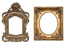 Frames dourados com trajetos de grampeamento Fotografia de Stock