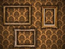 Frames dourados do vintage no papel de parede do damasco Imagem de Stock