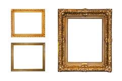 Frames dourados isolados Fotografia de Stock Royalty Free