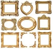 Frames dourados objetos barrocos da antiguidade do estilo Imagem de Stock Royalty Free