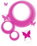 Frames e borboleta cor-de-rosa Imagem de Stock