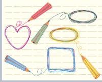 Frames e lápis desenhados mão Fotos de Stock Royalty Free