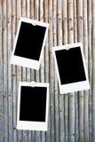 Frames em branco da foto em um fundo de bambu Foto de Stock