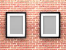Frames em branco da foto na parede de tijolo Imagem de Stock Royalty Free