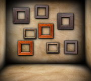 Frames on empty room Royalty Free Stock Photo