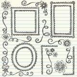 Frames esboçado de volta a vetor ajustado do Doodle da escola Foto de Stock Royalty Free