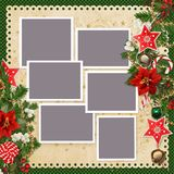 Christmas background with  frames for family photos and borders of stars, christmas bells, sweets, pine branches, poinsettia, ber Royalty Free Stock Images