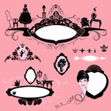 Frames with glamour accessories, furniture, girl portrait Royalty Free Stock Images