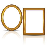 Frames gold color with shadow Royalty Free Stock Images