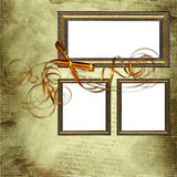 Frames on grunge background with yellow bow Royalty Free Stock Photos