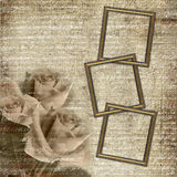 Frames on grunge glamour background with roses Royalty Free Stock Photos