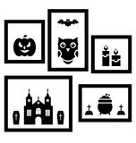 Frames with Halloween Traditional Symbols Stock Image