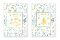 Frames with honey bee, hive, herbs and wild flowers. vector illustration