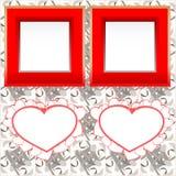 Frames imediatos em branco da foto com coração na madeira Foto de Stock Royalty Free