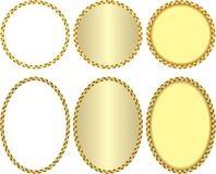 Frames. Isolated golden frame with braided border Royalty Free Stock Photos