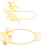 Frames with lilies and floral ornament Stock Photos