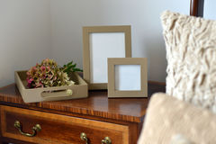 Frames. Luxury leather picture frames in a bedroom Stock Images