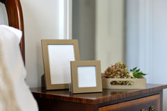 Frames. Luxury leather picture frames in a bedroom Stock Photos