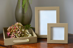 Frames. Luxury leather picture frames in a bedroom Royalty Free Stock Photo