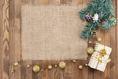 Frames made of burlap on the wooden background stock images