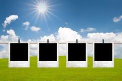 Frames met zon en gebied Royalty-vrije Stock Foto