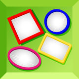 Frames or mirrors at bottom of a box-set2. Set 2 of empty frames in fun bright colors for your text or images, could be mirrors, placed at the bottom of Royalty Free Stock Photo