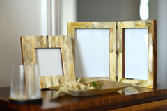 Frames. Natural horn picture frames in a bedroom setting Royalty Free Stock Photography