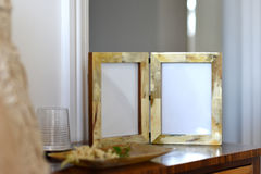 Frames. Natural horn picture frames in a bedroom setting Royalty Free Stock Images