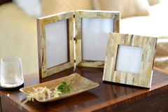 Frames. Natural horn picture frames in a bedroom setting Royalty Free Stock Photo