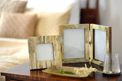 Frames. Natural horn picture frames in a bedroom setting Royalty Free Stock Image