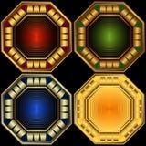 Frames octagonal decorativos ajustados ilustração royalty free