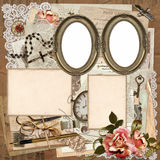 Frames, old documents, money, vintage decorations on a worn cardboard background Royalty Free Stock Image