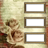 Frames op aantrekkingskracht grunge achtergrond met rozen Stock Afbeeldingen