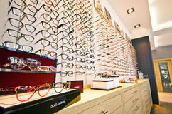 Frames in optician store Royalty Free Stock Photo