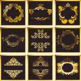Frames ornamentado do quadrilátero do vetor dourado decorativo ilustração stock