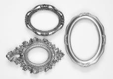 Frames ovais ornamentado de prata, uns grunge e oxidado Imagem de Stock