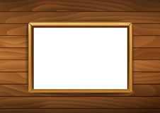 Frames for paintings or photographs on the brick wooden background.  vector illustration