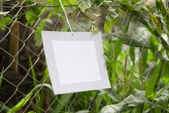 Frames of paper hanging in the fence of fodder farms stock photography