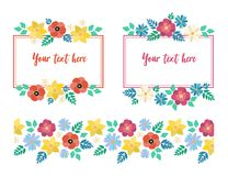 Frames and pattern spring flowers royalty free stock photography